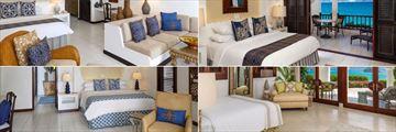 Belmond Cap Juluca, (clockwise from top left): Junior Suite, Pool Villa, Jonquil Suite and Beachfront Luxury Rooms