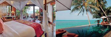 Belmond Napasai, Oceanfront Pool Residence Bedroom and Infinity Pool