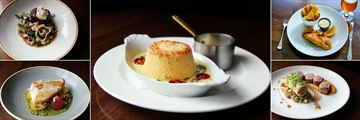 Bolton Hotel, Artisan Dining House Dishes - Beef Fillet, Souffle, Fish & Chips, Pork Loin and Fish