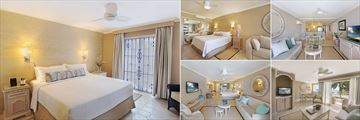 Bougainvillea Barbados, (clockwise from left): Deluxe One Bedroom Suite, Junior Suite, One Bedroom Deluxe Suite, Two Bedroom Beachfront Luxury Suite and Junior Suite