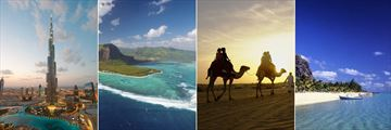 The Burj Khalifa & Camel rides in the desert, Dubai and Mauritius island & beach