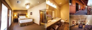 Cable Mountain Lodge, (clockwise from left): Center Suite Bedroom, Bathroom, Balcony, Living and Kitchen Areas