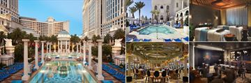 Caesars Palace, (clockwise from left): Neptune Pool, Apollo Pool, Spa, Montecristo Cigar Bar and Caesars Casino