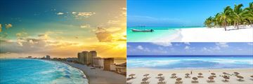 Cancun's coastline and beachfront views