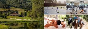 Carmel Valley Ranch, (clockwise from left): Golf Course, Tennis, Fitness Centre, Horse Riding and The Spa