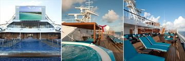 Carnival Liberty's Seaside Theatre and Serenity pool