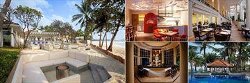 Centara Grand Beach Resort, Koh Samui, (clockwise from left): Coast Beach Bar, Coast Beach Bar Interior, Palm Grove, Dip & Sip and Islander
