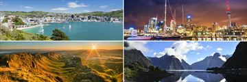 Clockwise from top left: Wellington Bay, Auckland, Milford Sound and Napa Valley