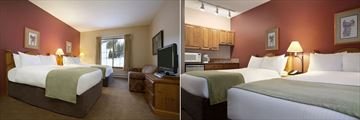 Coast Sundance Lodge, Comfort Room with Two Double Beds and View of Kitchenette in Comfort Room