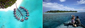 Coco Palm Dhuni Kolhu, Aerial View of Lagoon Villas and View of Embudhoo Island