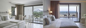 Deluxe Mountain Garden View Room and Deluxe Sea View Room at Creta Maris Beach Resort