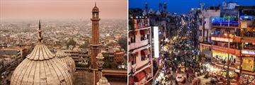 Delhi Skyline & Bustling Bazaar