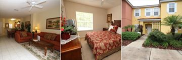 Disney Area Town Homes, Living Room, Master Bedroom and Exterior