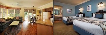 Villa Living Room and Deluxe Studio Bedroom at Disney's Old Key West Resort