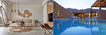 The Residence living rooms and Villa pools at Domes of Elounda