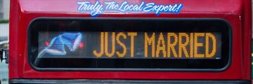 Double decker Just Married sign