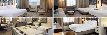 Three Guestrooms and Suite Living Area at Doubletree by Hilton Denver Stapleton North