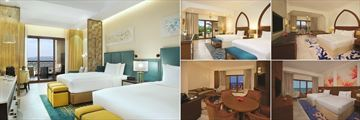 Seaview Suite (far left), King Deluxe Garden View Room (top left), King Guest Room (top and bottom right), and Junior Suite (bottom left) at DoubleTree by Hilton Resort & Spa, Marjan Island