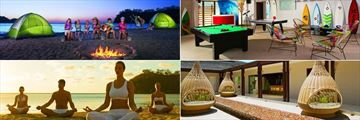 Dreams Las Mareas, (clockwise from top left): Camp Out, Core Zone, Spa Relaxation Area and Beach Yoga