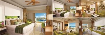 Dreams Onyx Punta Cana, (clockwise from left): Preferred Club (PC) Junior Suite Pool View, Junior Suite Partial Ocean View, PC & Junior Suite Interior, Junior Suite Garden View and PC Master Suite