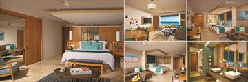 Dreams Playa Mujeres Golf & Spa Resort, Preferred Club (P.C.) Master Suite Ocean View Bedroom & Living Room, All Junior & Family Suites & P.C. Junior & Family Suite Ocean View Suites & Bathroom