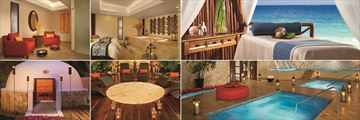 Dreams Sapphire Riviera Cancun, (clockwise from top left): Couples Cabin, Couples Massage Cabin with Bathtub, Massage Cabin, Spa Pools, Relaxation Area and Temazcal