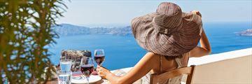 Drinking wine in Santorini