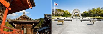 Kiyomizu Temple (left), and Hiroshima Peace Memorial (right)