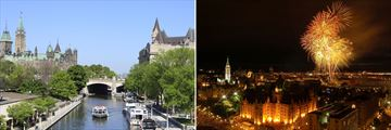 Rideau Canal (left), and Ottawa fireworks (right)