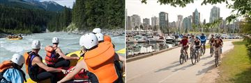 White-water rafting in Kicking Horse (left), and cycling through Vancouver (right)