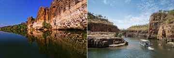 Fitzroy River and Geikie Gorge (left), and crusing through Katherine Gorge (right)