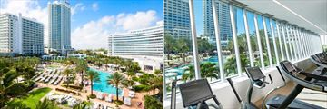 Resort Exterior and View from the Fitness Centre at Fontainebleau Miami Beach