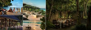 Four Seasons Resort Seychelles, Private Beach Party, Jez Restaurant, Private Dinner at the Foumba, Private Beach Dinner and Kannel Restaurant