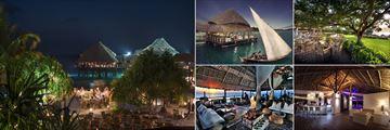 Diamonds La Gemma dell'Est, (clockwise from left): The Beach Grill, Sea Breeze Restaurant, Pavilion Restaurant and Terra E Mare Restaurant and Bar
