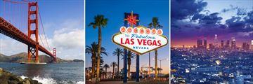 Golden Gate Bridge, Las Vegas welcome sign & Downtown Los Angeles