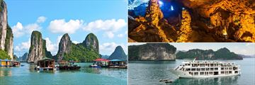 Floating Village, Surprising Cave and Cruise Boat, Halong Bay