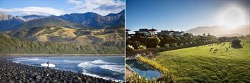Hapuku Lodge & Tree Houses, Surfer on Beach and Lodge Farm Deer and Pool