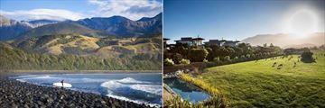 Hapuku Lodge & Tree Houses, Surfer on Beach and Lodge Farm Deer and Pool