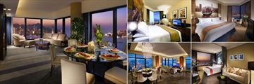 Harbour Grand Hong Kong, (clockwise from left): Premier Harbour View Suite, Grand Deluxe Harbour View Room, Superior Harbour View, Premier Harbour View Room and Presidential Suite
