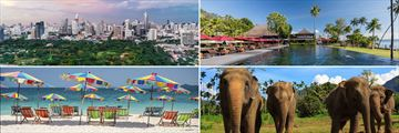 Clockwise from top left: A view of Bangkok, Vijitt Resort in Phuket, Elephant Hills in Chiang Mai, and a beautiful beach