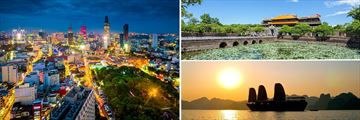 Hightlights of Vietnam: Ho Chi Minh city at night, Hue Attractions, Sunset over Halong Bay