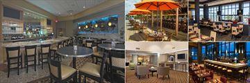 Hilton Cocoa Beach, (clockwise from left): Bar, Tiki Lounge, Salt Restaurant, Salt Bar and Lobby