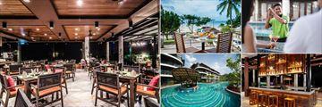 Holiday Inn Resort, Krabi, (clockwise from left): Inn Asia Restaurant, Breakfast on Terrace, Lagoon Bar, Wave Bar and Island Bar