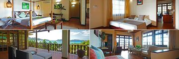 Hotel L'Archipel, (clockwise from top left): Family Suite Master Bedroom, Kids' Bedroom, Lounge and Terrace