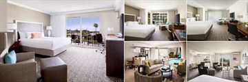Hyatt Regency Newport Beach, (clockwise from left): King Room, King Room Pool View, King Room with Balcony, Executive Suite and Villa Suite