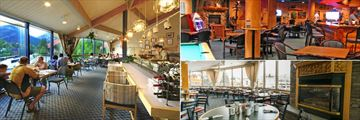 Inns of Banff, (clockwise from left): Miki Restaurant, Bears Den and Wildfire Grill