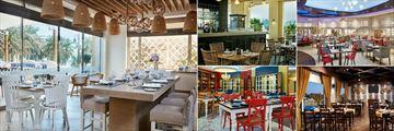 InterContinental - Qatar, (clockwise from left): Mykonos Restaurant, Belgian Cafe, Coral Restaurant, Paloma Restaurant and Gemmayze Restaurant