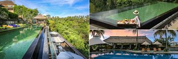 Kamandalu Resort & Spa, Ubud, (clockwise from left): Awana Pool and Lounge, Floating Breakfast or Lunch and Aira Cafe Poolside