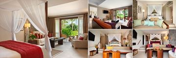 Kempinski Seychelles Resort Baie Lazare, (clockwise from left): One Bedroom Beachside Suite Bedroom, Living Room, Hill View Room, Deluxe Room and Sea View Room