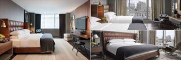 King Premier Room, Queen-Queen Skyline Room and Penthouse Suite at Kimpton Nine Zero Hotel
